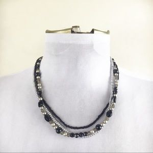 Vintage Multi Strand Sliver & Black Necklace
